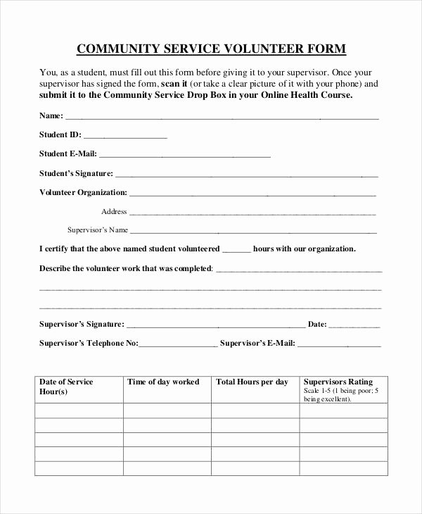 Volunteer Application form Template Lovely Service form Template