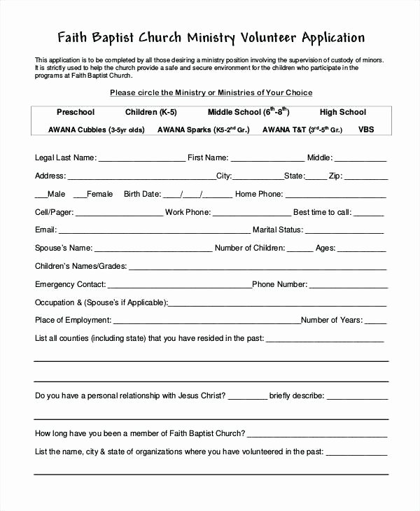 Volunteer Application form Template Luxury Free Sign Up Sheet Template Church Volunteer form