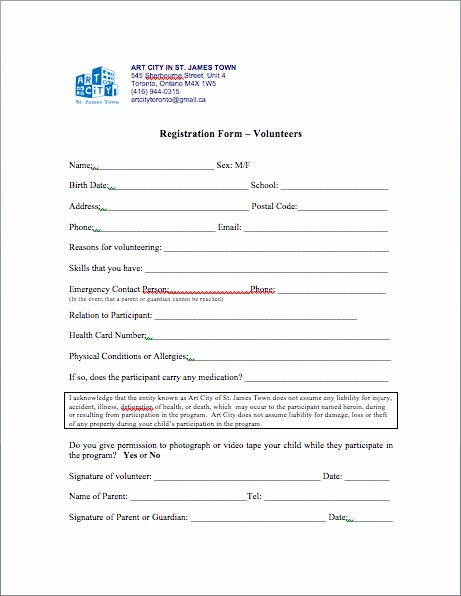 Volunteer Application form Template New Volunteer Registration form Template to Pin On
