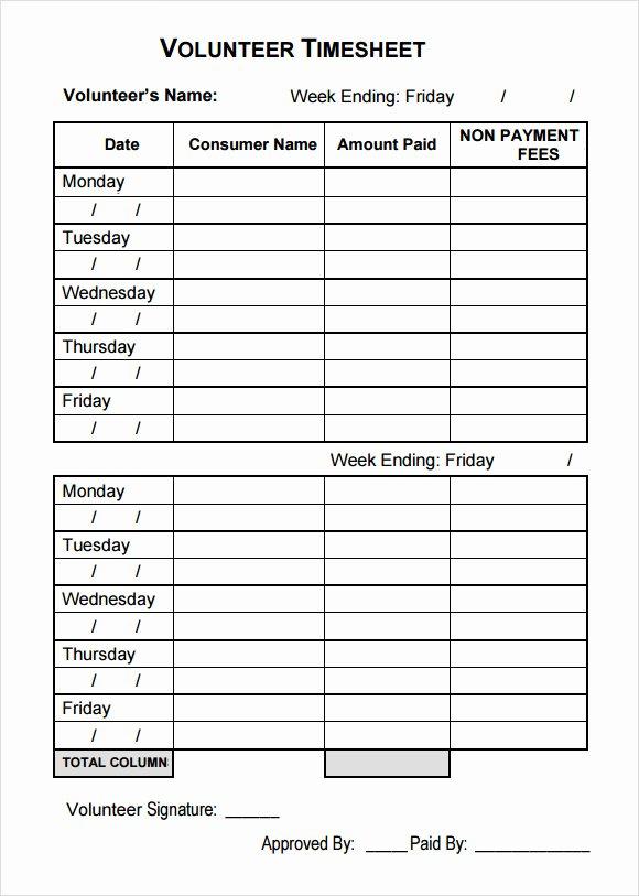 Volunteer Hour forms Template Best Of 10 Volunteer Timesheet Samples