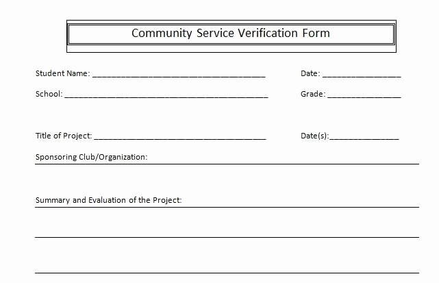 Volunteer Hour forms Template Best Of Munity Service Verification form – Superfoster