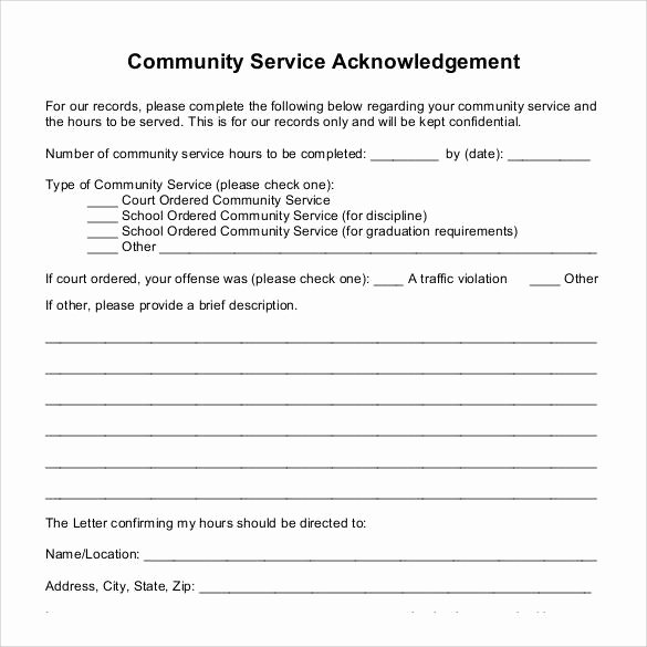 Volunteer Hour forms Template Best Of Sample Munity Service Letter 25 Download Free