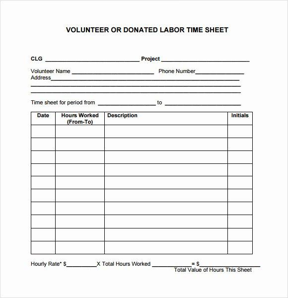 Volunteer Hour forms Template Elegant 10 Volunteer Timesheet Samples
