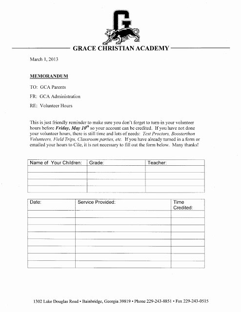 Volunteer Hour forms Template Elegant Grace Christian Academy February 2013