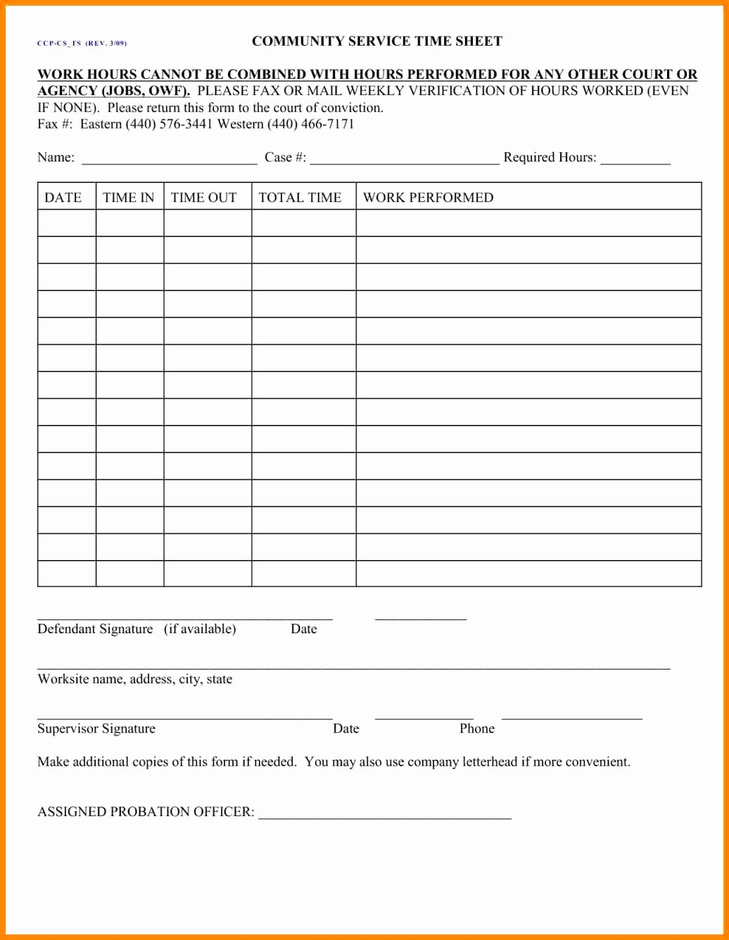 Volunteer Hour forms Template Lovely Munity Service form for Court