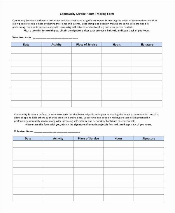 Volunteer Hour forms Template New 10 Sample Munity Service forms