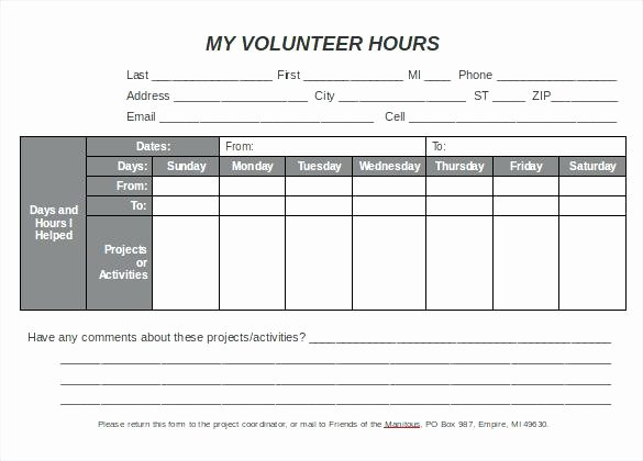 Volunteer Hours form Template Best Of Excel Spreadsheet Template Line Sheet All form Templates