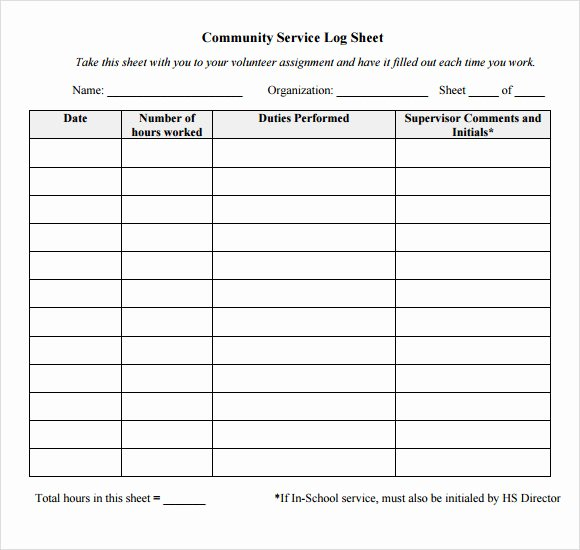 Volunteer Hours form Template Fresh 10 Sample Log Sheets