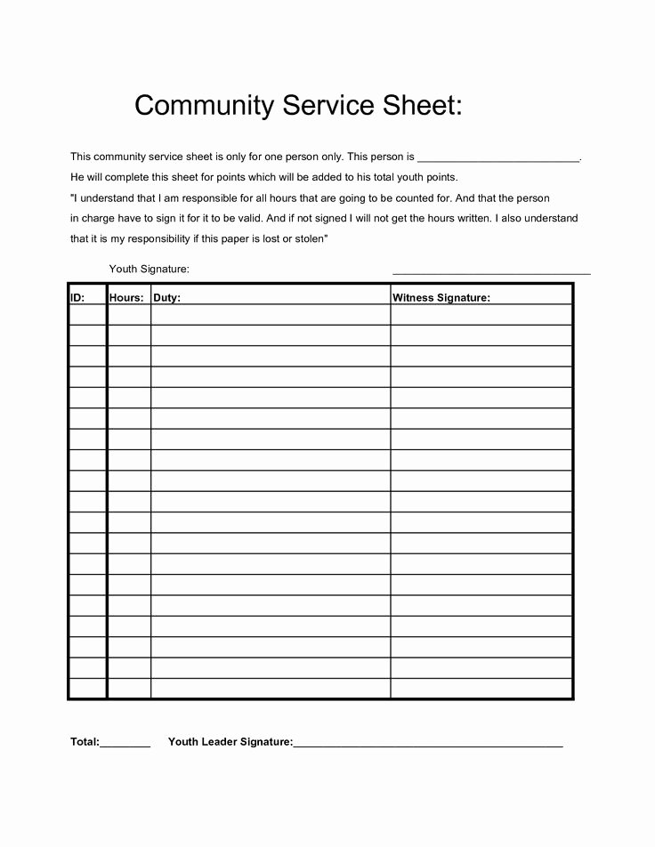 Volunteer Hours form Template Lovely Munity Service Hours Sheet