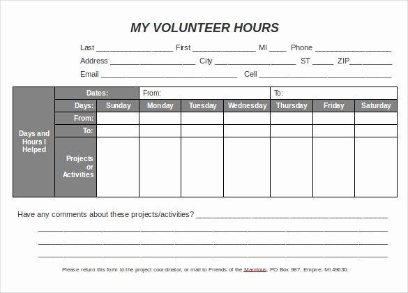 Volunteer Hours form Template New 18 Volunteer Timesheet Templates – Free Sample Example