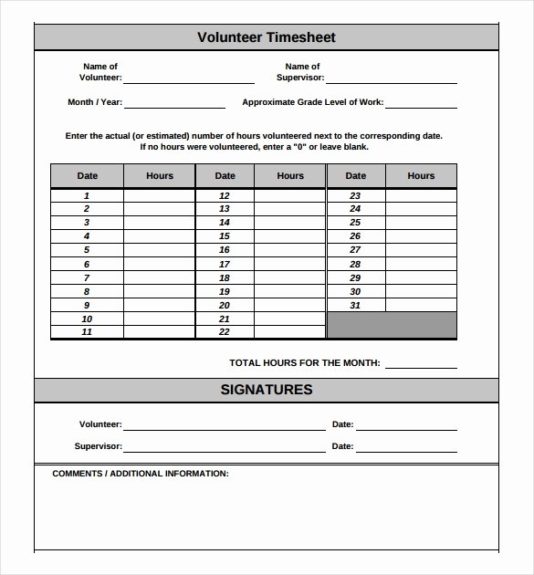 Volunteer Hours form Template Unique 18 Volunteer Timesheet Templates – Free Sample Example