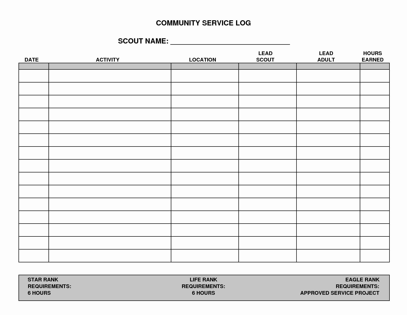 Volunteer Hours Log Template Lovely 7 Best Of Printable Hours Log Volunteer Hours Log