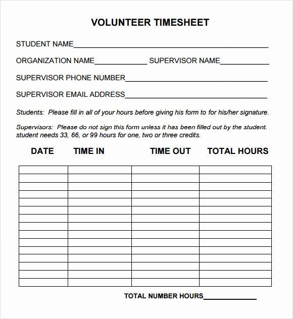 Volunteer Hours Log Template New 11 Volunteer Timesheet Samples