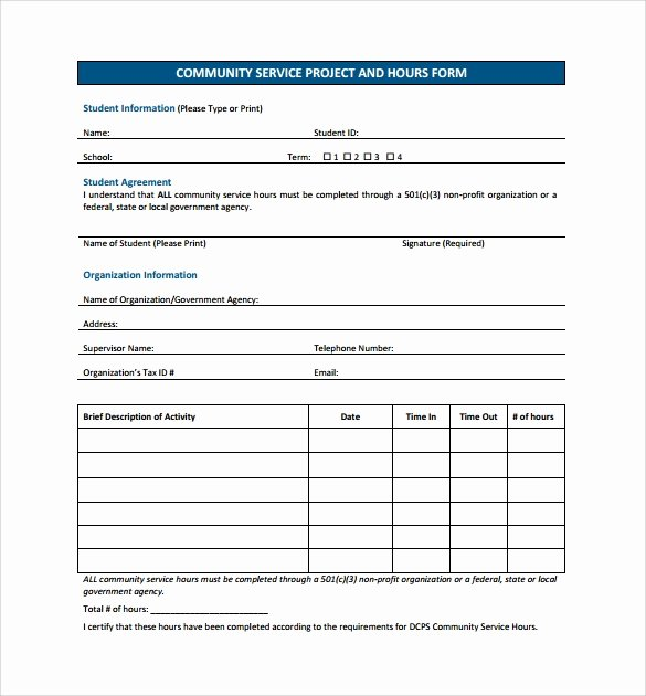 Volunteer Hours Log Template New Sample Service Hour form 13 Download Free Documents In