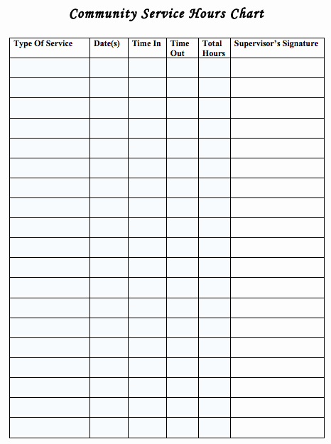 Volunteer Hours Log Template Unique Generic Munity Service Log Sheet Useful for Earning
