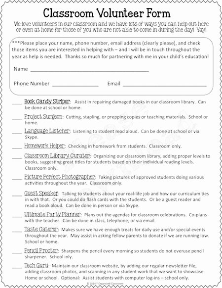 Volunteer Interest form Template Best Of 25 Best Ideas About Parent Volunteer form On Pinterest
