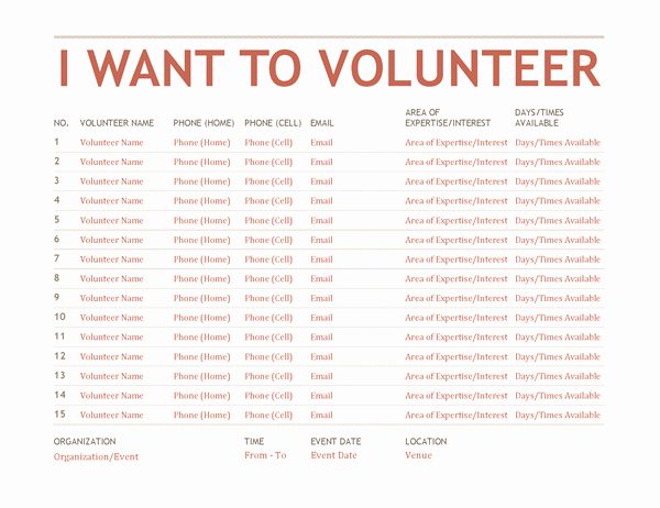 Volunteer Interest form Template Elegant Volunteer Sign Up Sheet