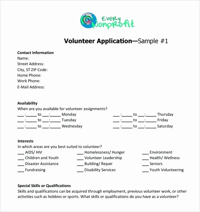 Volunteer Interest form Template Lovely Volunteer Interest form Template Charity Application