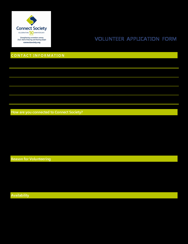 Volunteers Application form Template Awesome Volunteer Application Templates Word Excel Samples