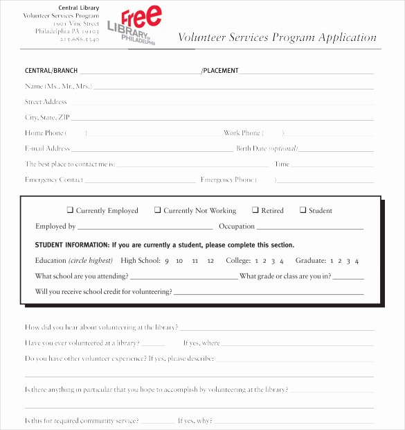 Volunteers Application form Template Inspirational School Volunteer form Templa On Salvation Army
