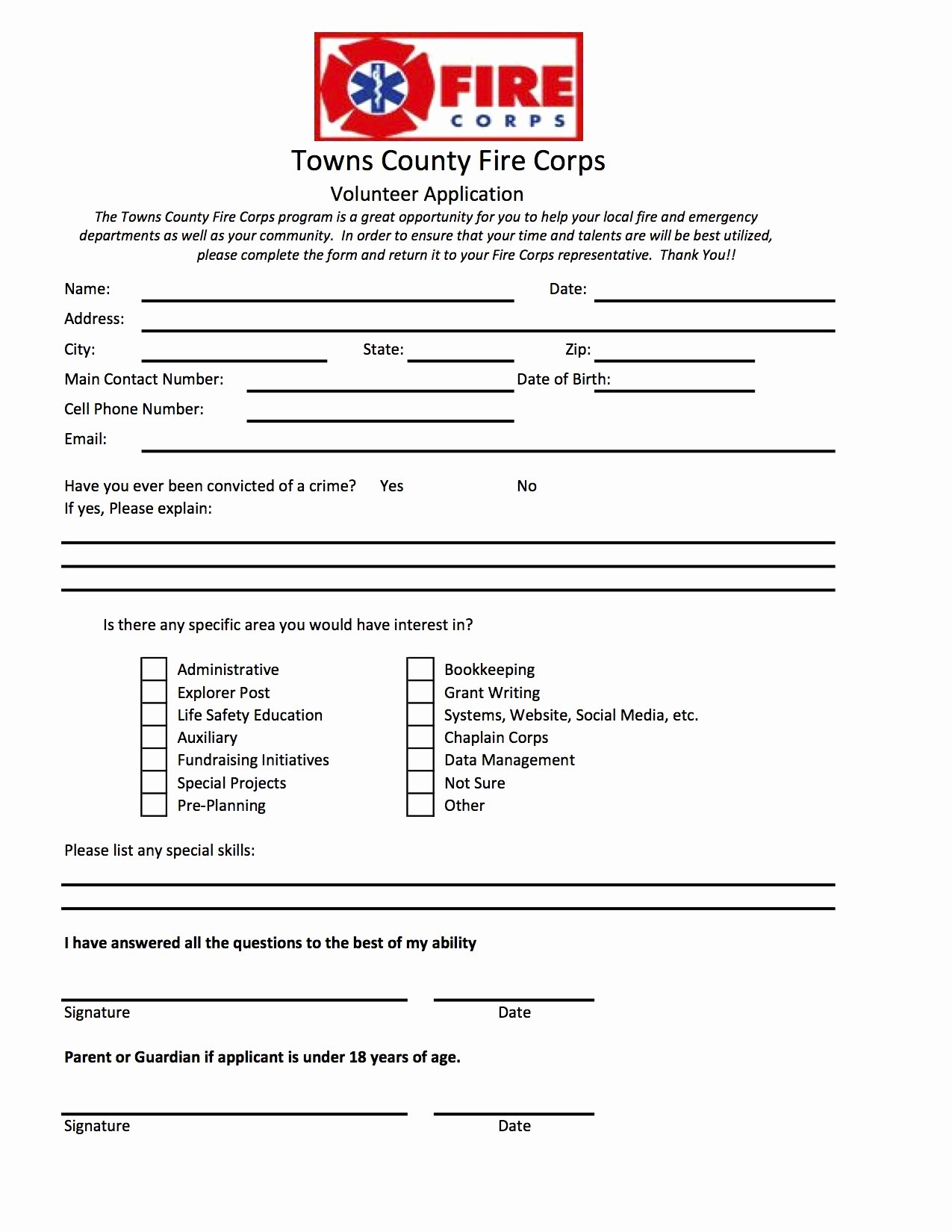 Volunteers Application form Template Inspirational Volunteer Application form Printable to Pin On