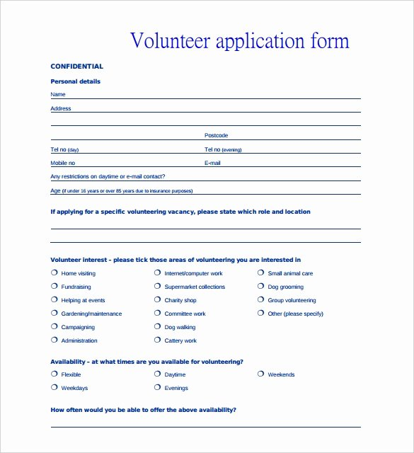 Volunteers Application form Template Lovely 10 Volunteer Application Template Word Pdf