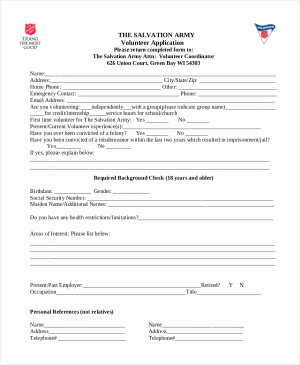 Volunteers Application form Template Lovely 9 Sample Volunteer Application forms Free Sample