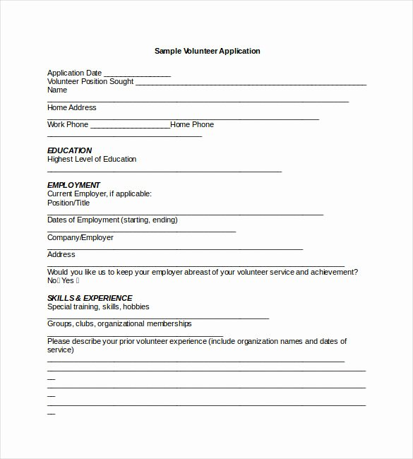 Volunteers Application form Template New Application Templates – 20 Free Word Excel Pdf