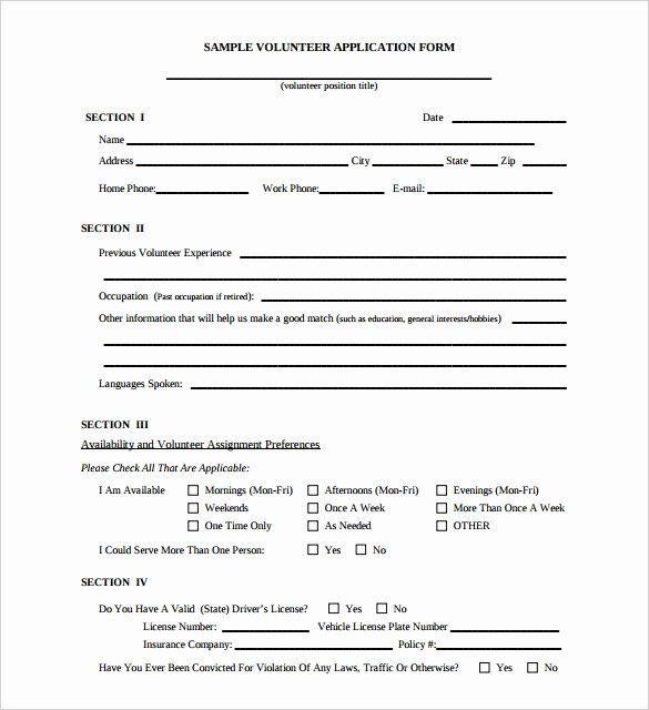 Volunteers Application form Template Unique 10 Volunteer Application Template Word Pdf