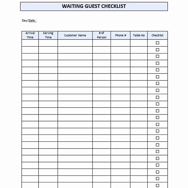 Waiting List Template Excel Inspirational Restaurant Waiting List Template Microsoft Word Templates