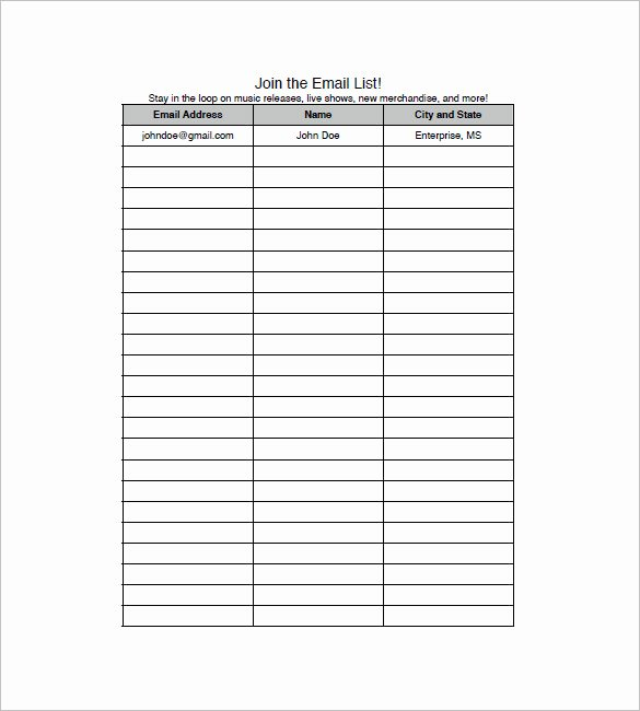 Waiting List Template Excel Unique Email List Template 10 Free Word Excel Pdf format