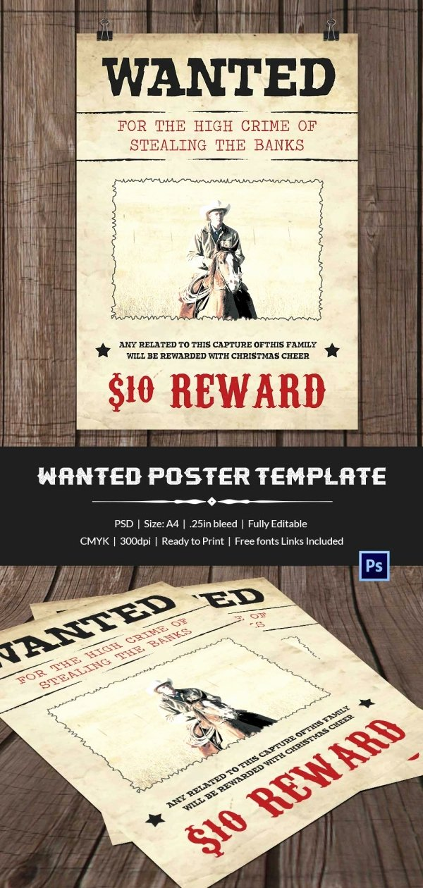 Wanted Poster Template Free Beautiful Wanted Poster Template 34 Free Printable Word Psd