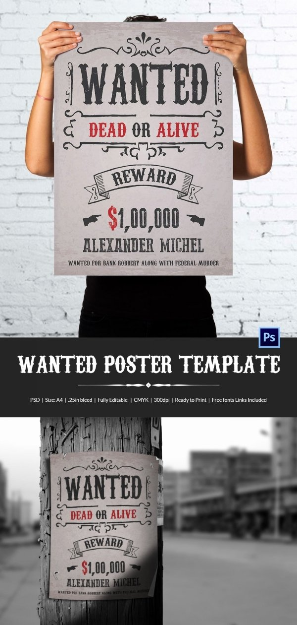 Wanted Poster Template Free Lovely Wanted Poster Template 34 Free Printable Word Psd