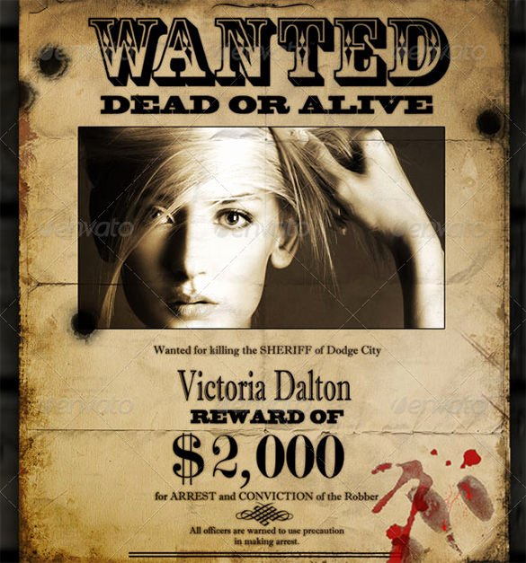 Wanted Poster Template Free Luxury Wanted Poster Template