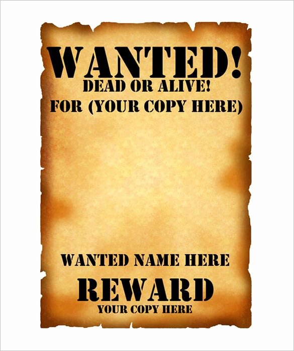 Wanted Poster Word Template Elegant Wanted Poster Template – 53 Free Printable Word Psd