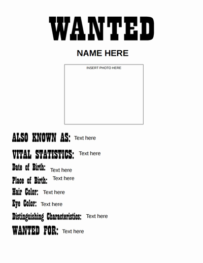 Wanted Poster Word Template Fresh Wanted Poster Template Free Download Create Edit Fill