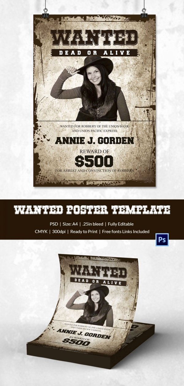 Wanted Poster Word Template Luxury Wanted Poster Template 34 Free Printable Word Psd