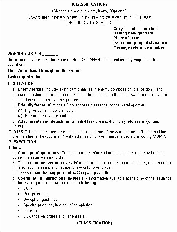 Warning order Template Usmc Awesome Fm 3 05 401 Appendix C Products Of Ca Cmo Planning and
