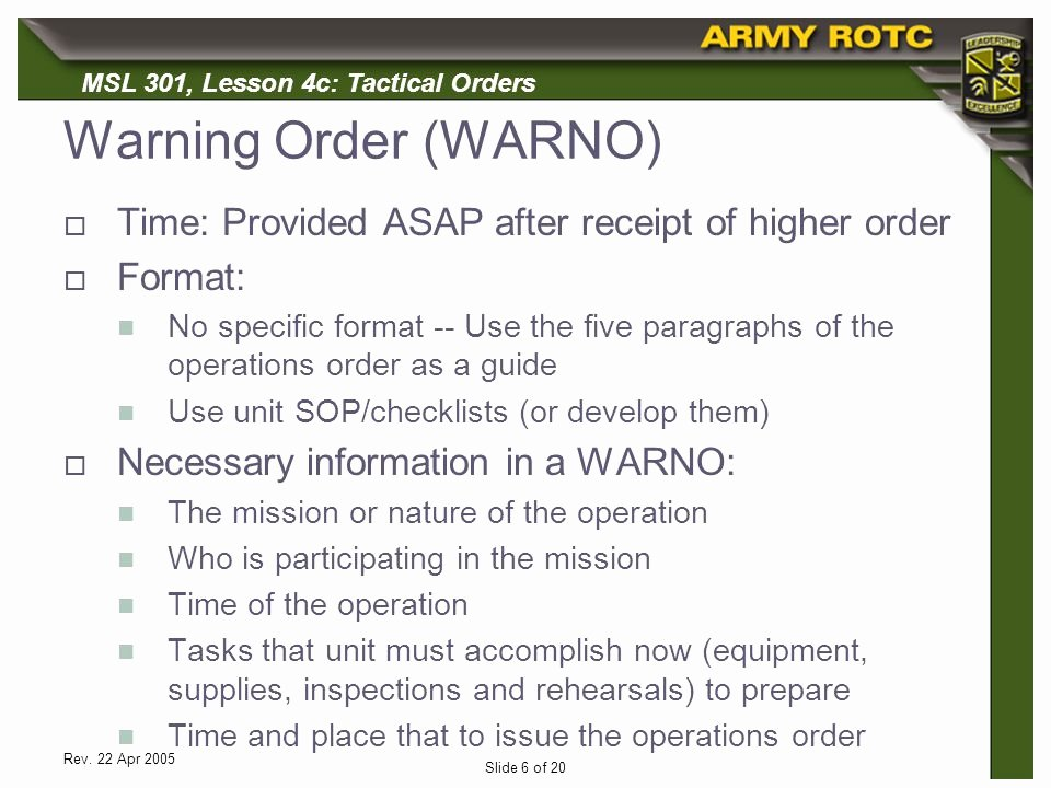 Warning order Template Usmc Unique Tactical Bat orders Ppt Video Online