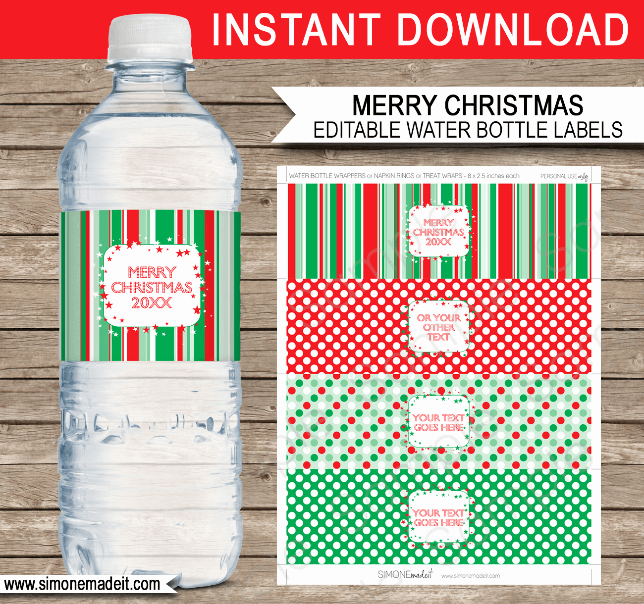 Water Bottle Label Template Awesome Printable Christmas Water Bottle Labels Template