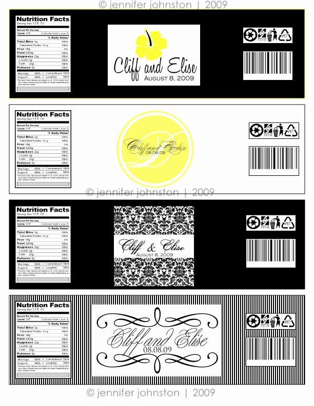 Water Bottle Label Template Inspirational Water Bottle Label Design for Elise & Cliff