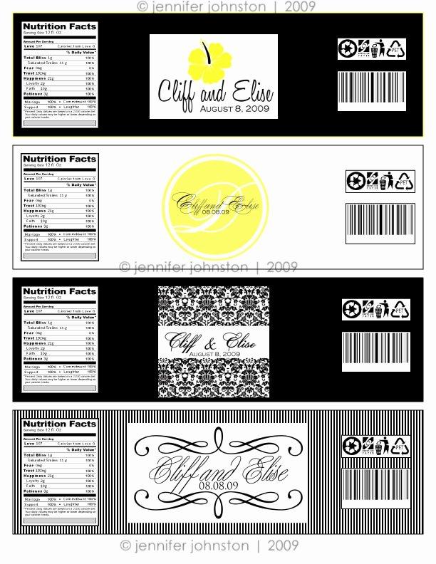 Water Bottle Label Template Lovely Water Bottle Label Design for Elise & Cliff