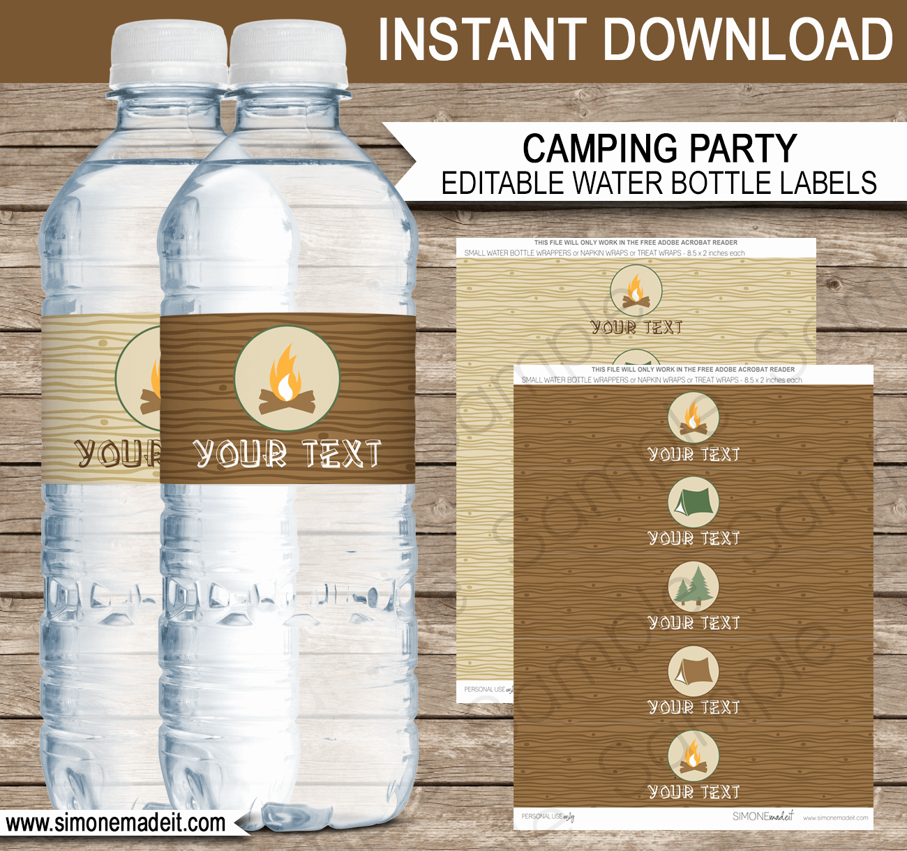 Water Bottle Label Template Unique Camping Party Water Bottle Labels