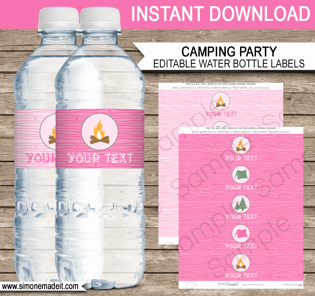 Water Bottle Labels Template Awesome Pink Girl Camping Party Water Bottle Labels