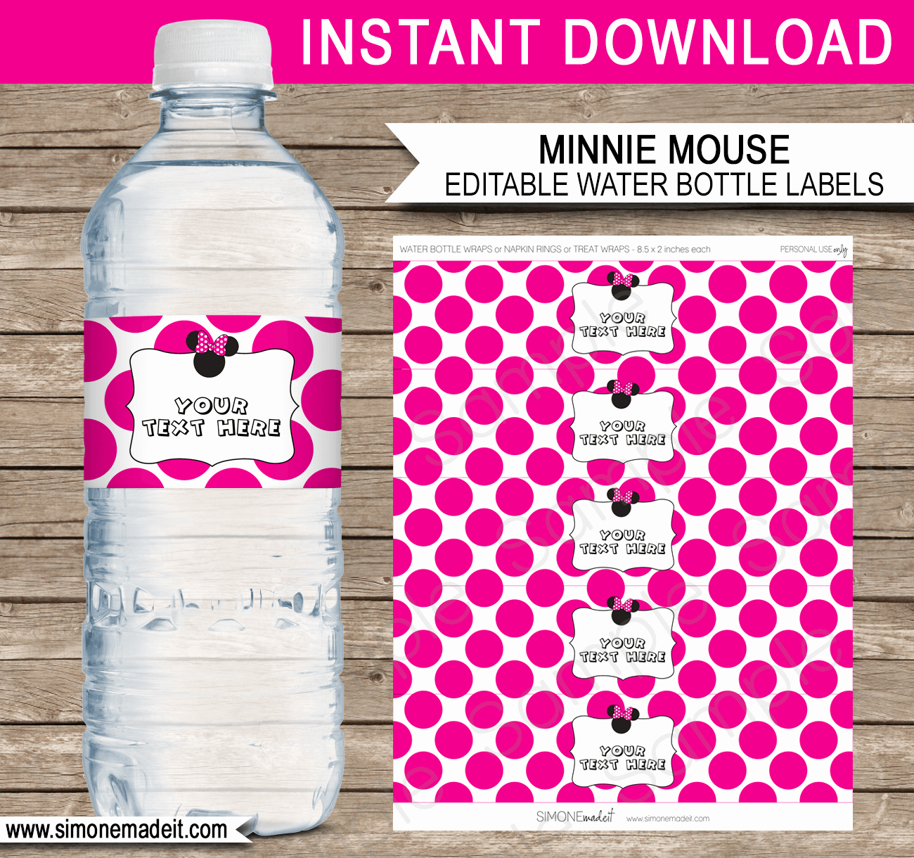 Water Bottle Labels Template Fresh Minnie Mouse Party Water Bottle Labels