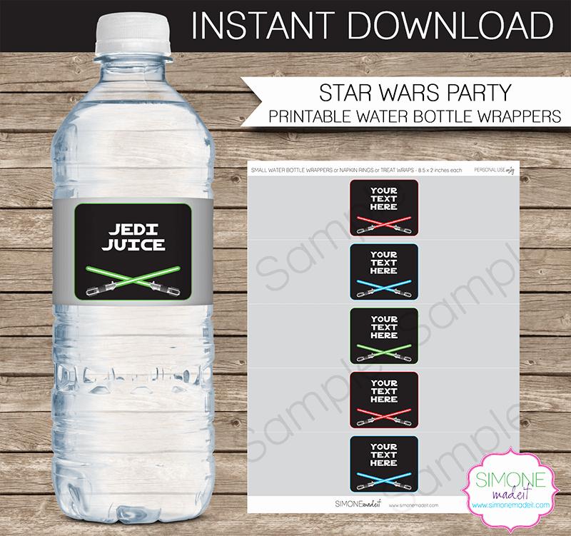Water Bottle Labels Template Unique Star Wars Party Water Bottle Labels