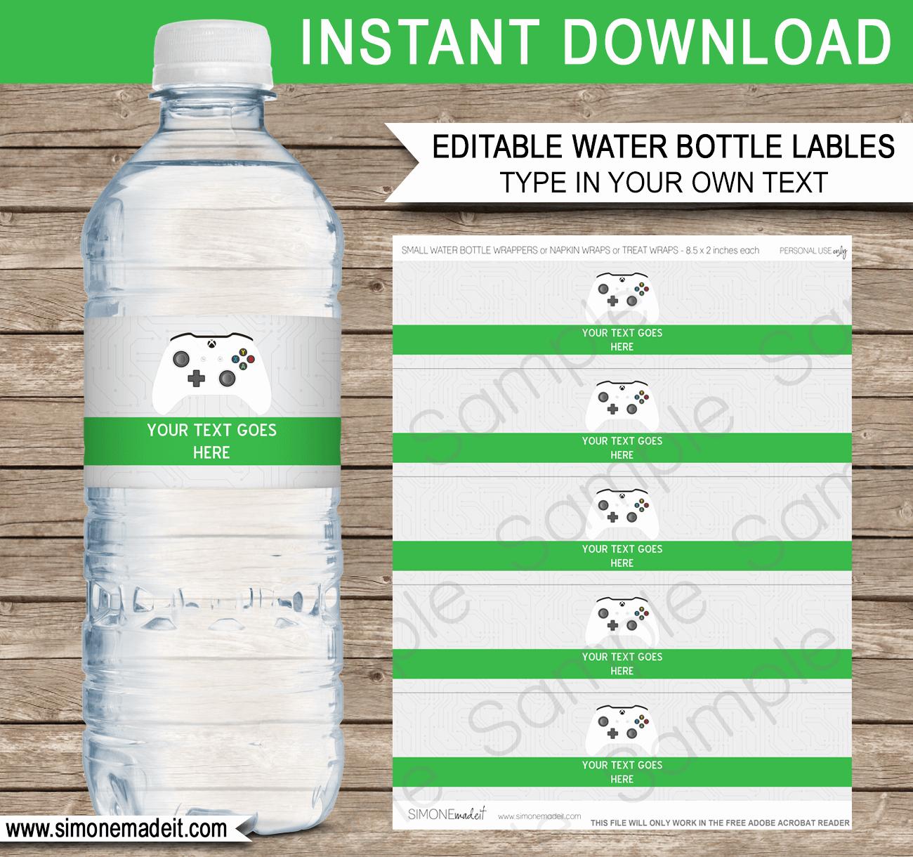 Water Bottle Labels Template Unique Xbox Party Water Bottle Labels