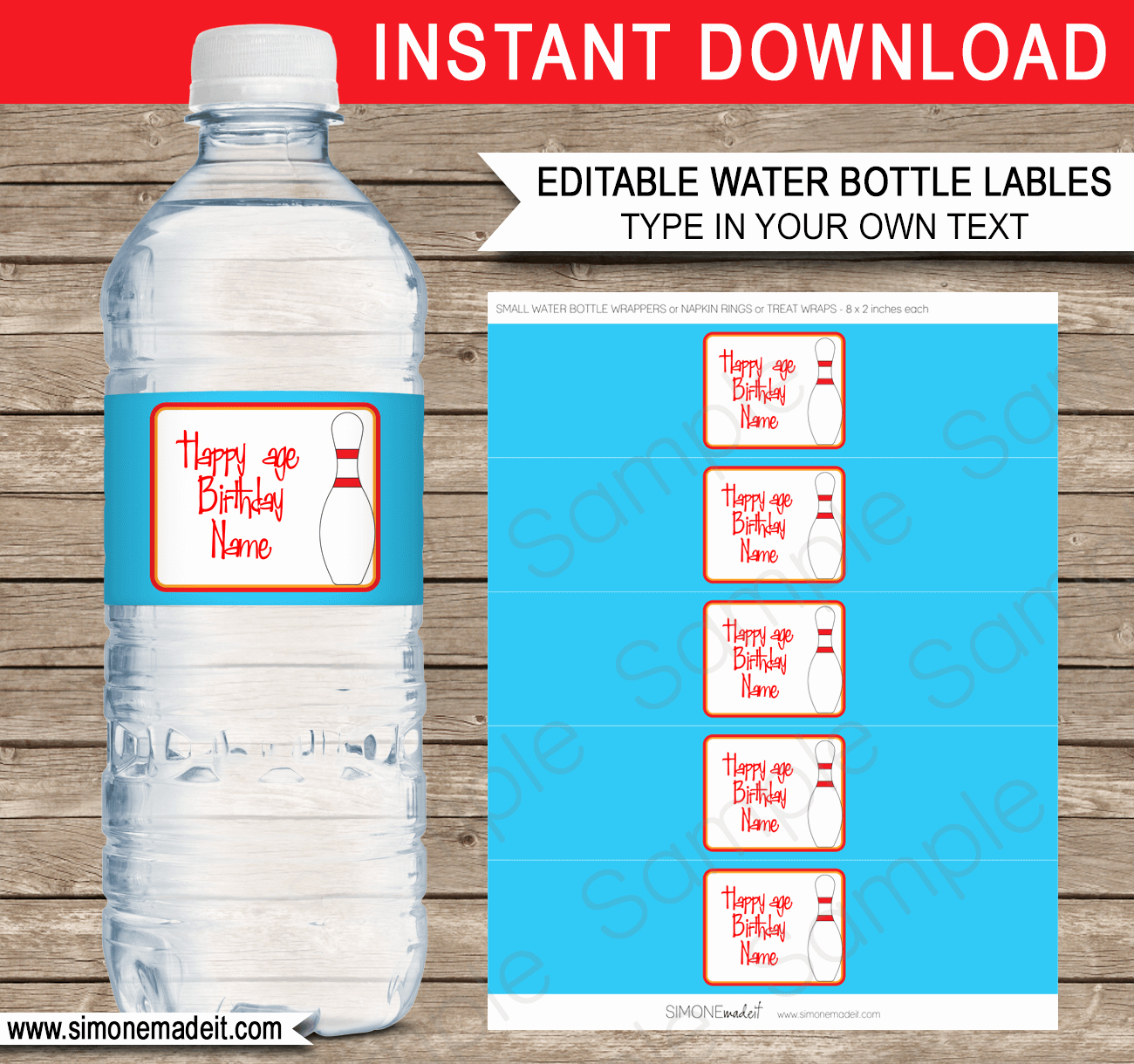Water Bottle Wrapper Template Awesome Bowling Party Water Bottle Labels