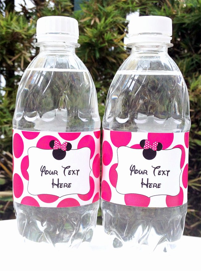 Water Bottle Wrapper Template Elegant Minnie Mouse Printable Birthday Party Collection