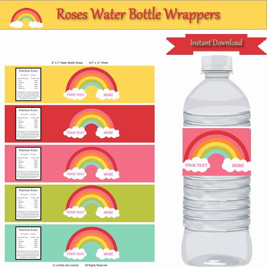 Water Bottle Wrapper Template Elegant Rainbow Party Water Bottle Label Wrappers Instant Download
